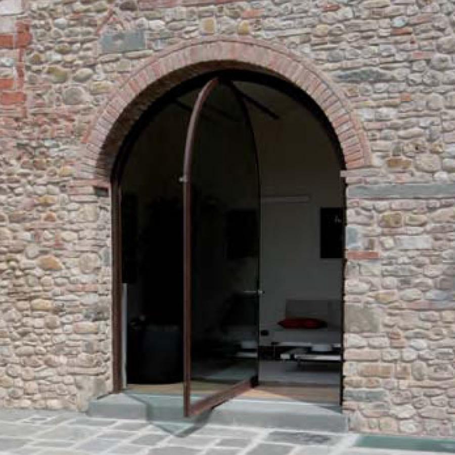 Corten Steel Frames Windows Large Windows Pivoting Doors Glazed Openings  Facades LF Italy Made In Italy